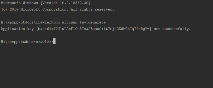 key:generate لاراول